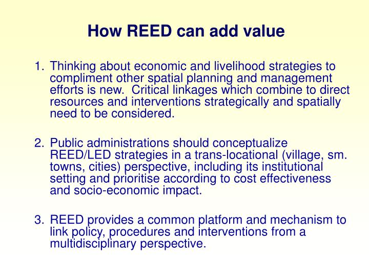 How REED can add value