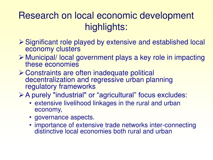 Research on local economic development highlights: