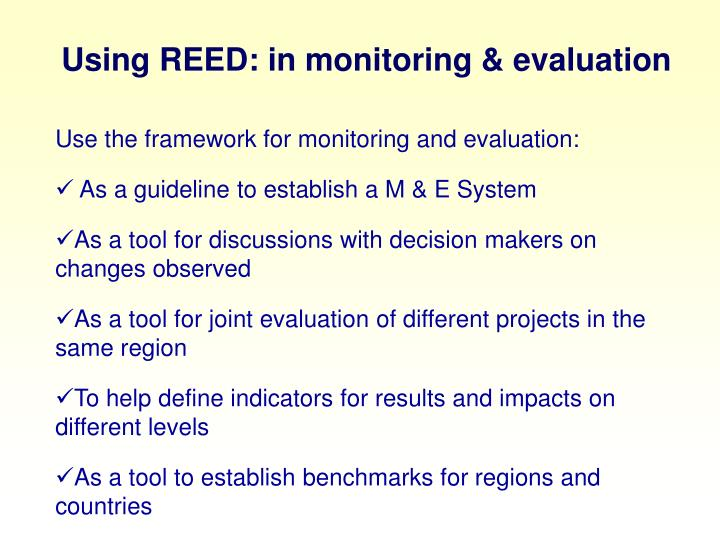 Using REED: in monitoring & evaluation