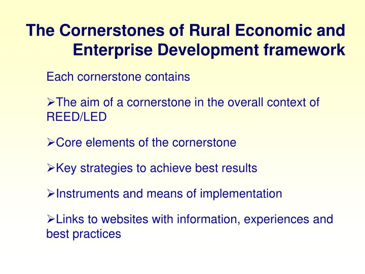The Cornerstones of Rural Economic and Enterprise Development framework