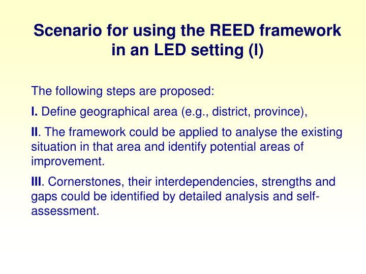 Scenario for using the REED framework in an LED setting (l)