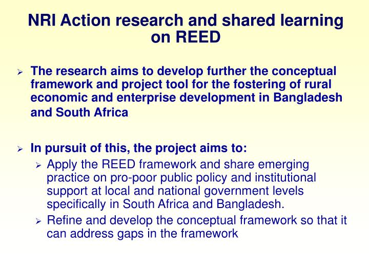 NRI Action research and shared learning on REED