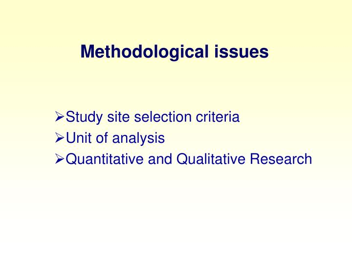 Methodological issues