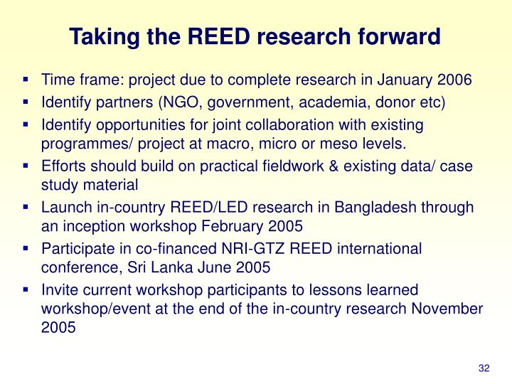 Taking the REED research forward