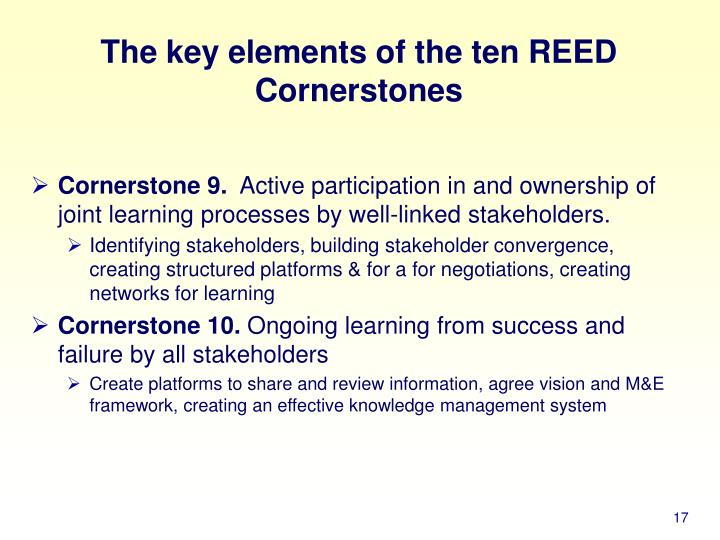 The key elements of the ten REED Cornerstones