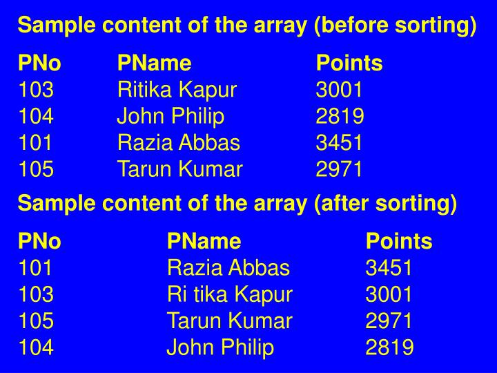 Sample content of the array (before sorting)