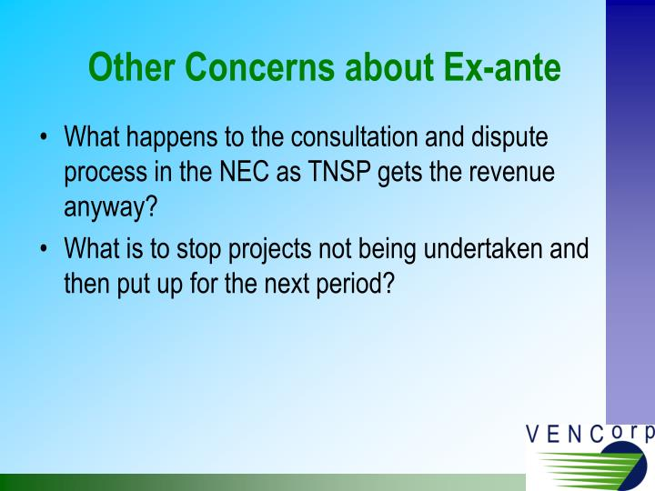 Other Concerns about Ex-ante