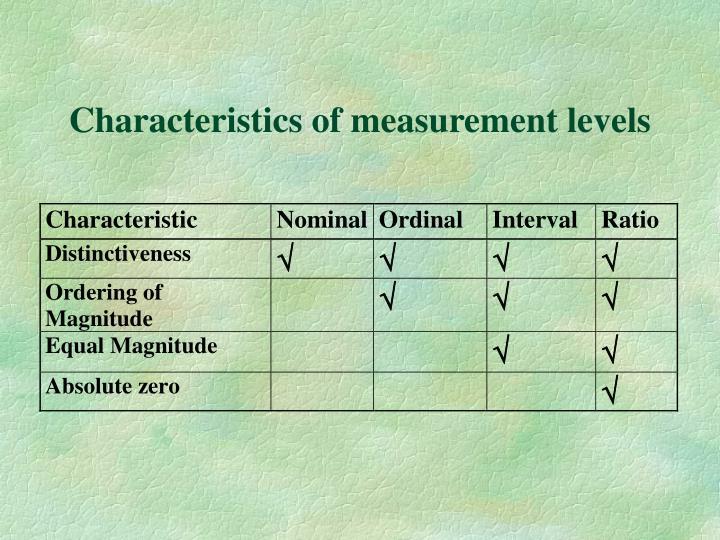 Characteristics of measurement levels