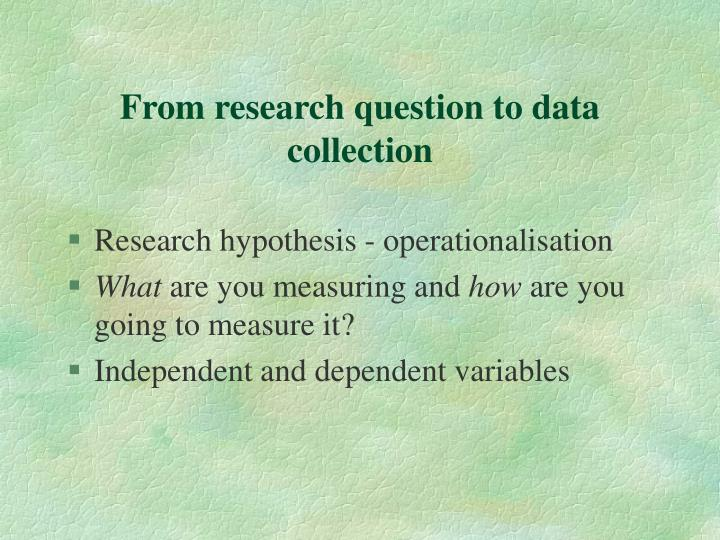 From research question to data collection