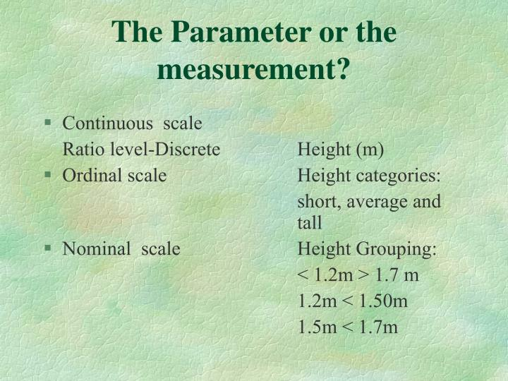 The Parameter or the measurement?