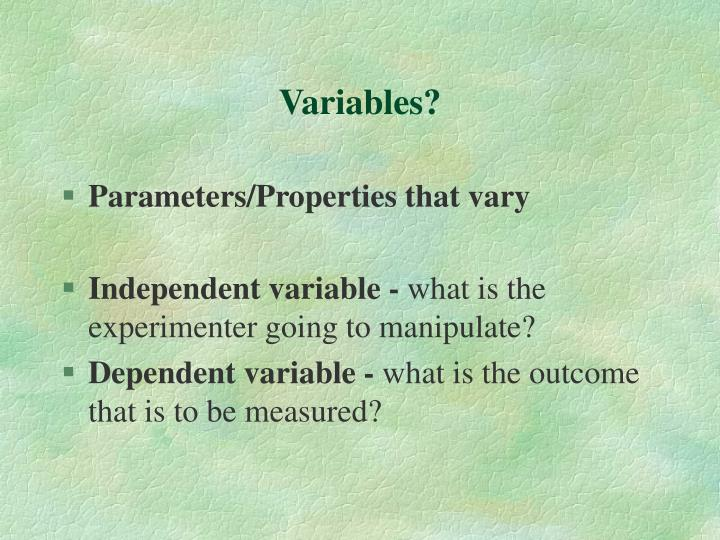 Variables?