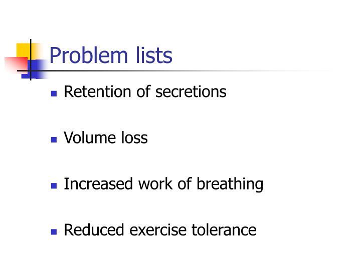 Problem lists