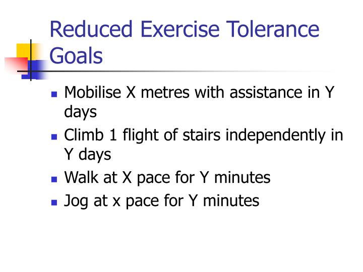 Reduced Exercise Tolerance Goals