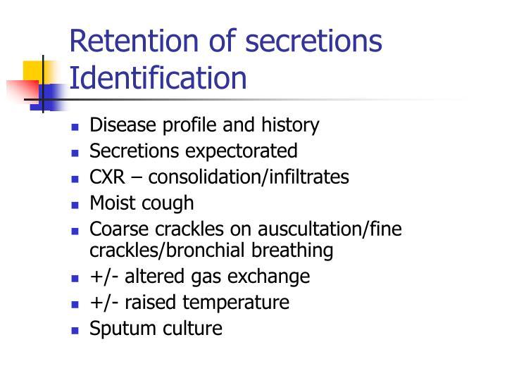 Retention of secretions