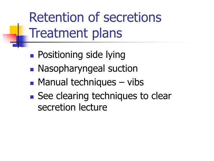 Retention of secretions Treatment plans