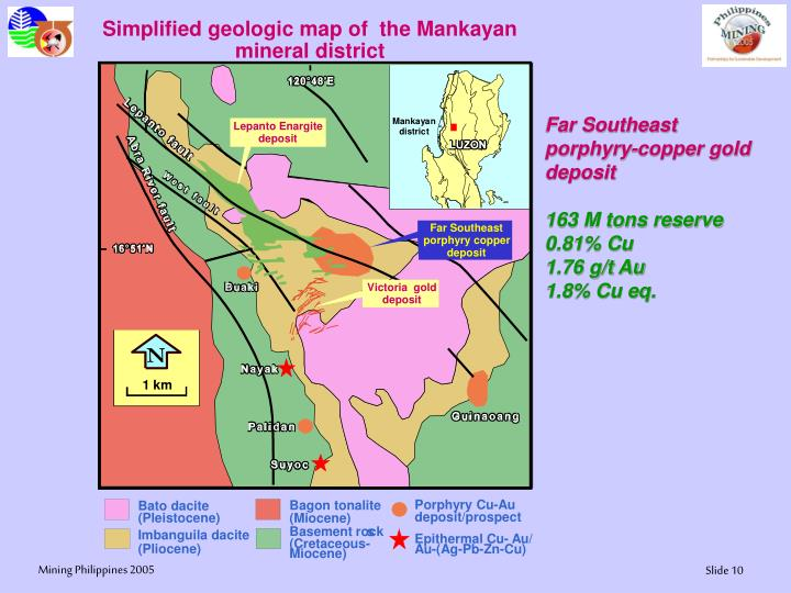 Simplified geologic map of  the Mankayan mineral district