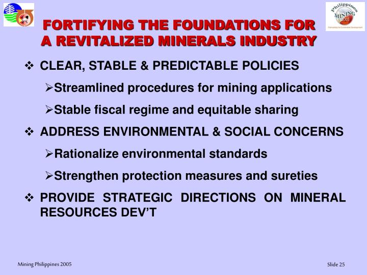 FORTIFYING THE FOUNDATIONS FOR A REVITALIZED MINERALS INDUSTRY