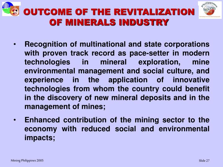 OUTCOME OF THE REVITALIZATION OF MINERALS INDUSTRY