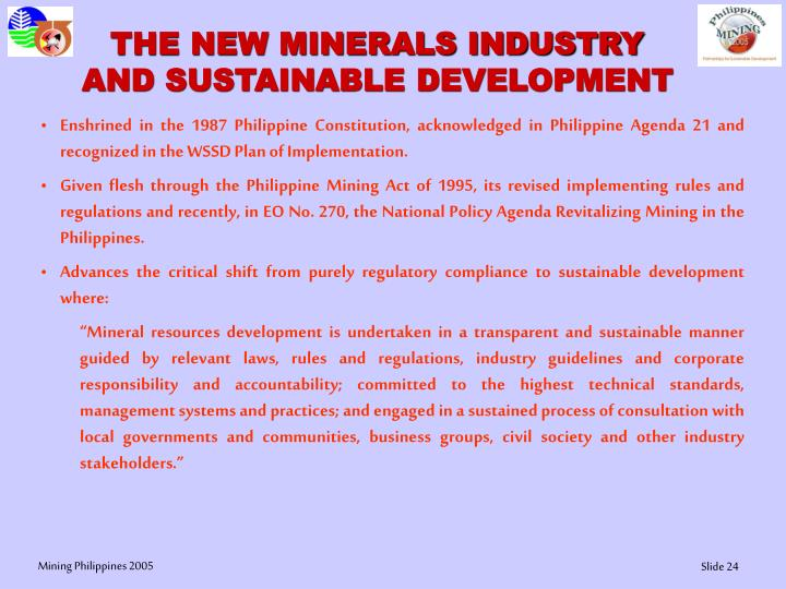 THE NEW MINERALS INDUSTRY AND SUSTAINABLE DEVELOPMENT