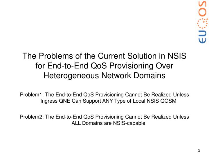The Problems of the Current Solution in NSIS for End-to-End QoS Provisioning Over Heterogeneous Netw...
