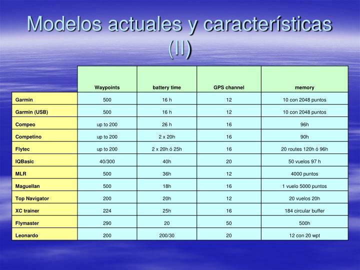 Modelos actuales y características (II)
