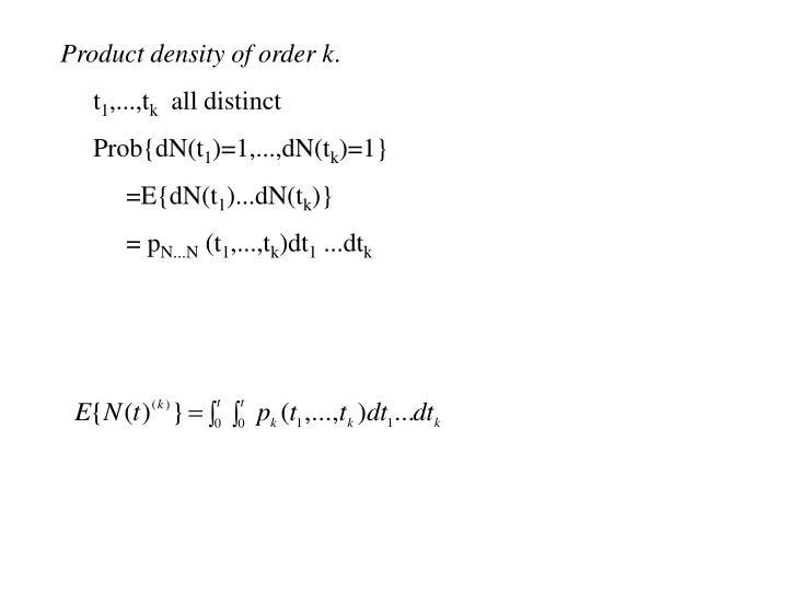 Product density of order k