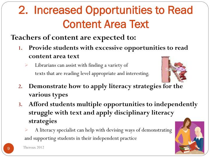2.  Increased Opportunities to Read Content Area Text