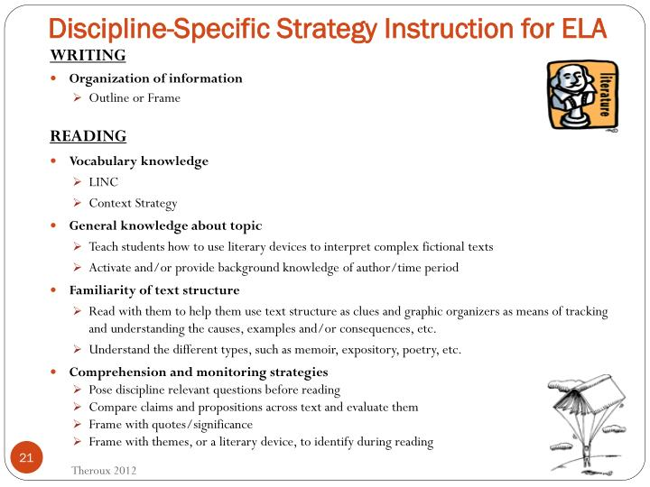 Discipline-Specific Strategy Instruction for ELA