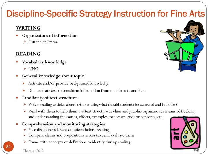 Discipline-Specific Strategy Instruction for Fine Arts