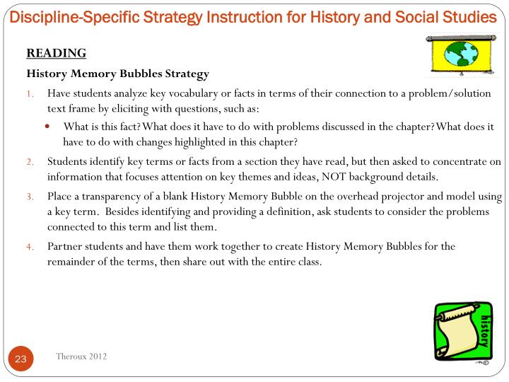 Discipline-Specific Strategy Instruction for History and Social Studies