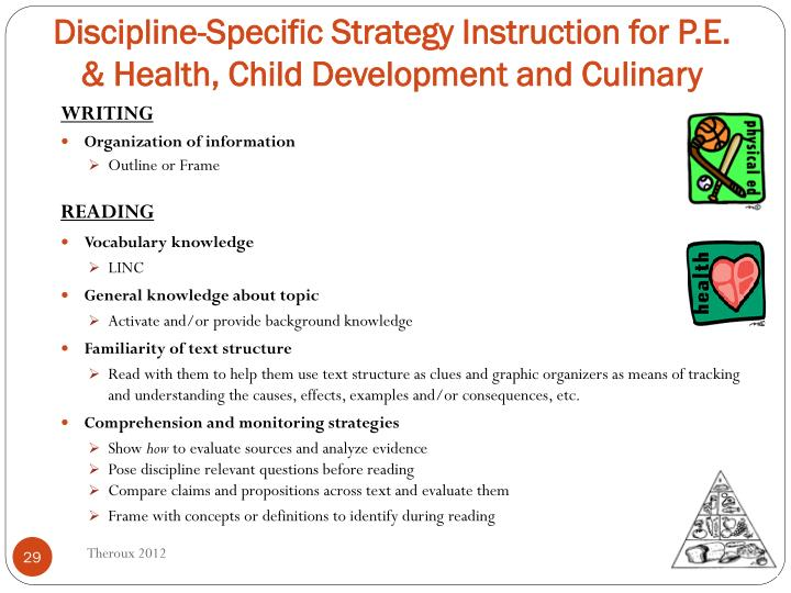 Discipline-Specific Strategy Instruction for P.E. & Health, Child Development and Culinary