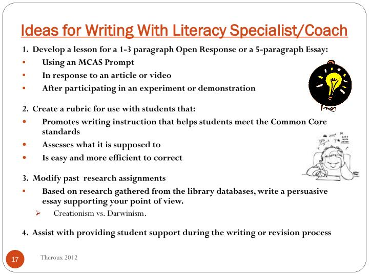 Ideas for Writing With Literacy Specialist/Coach