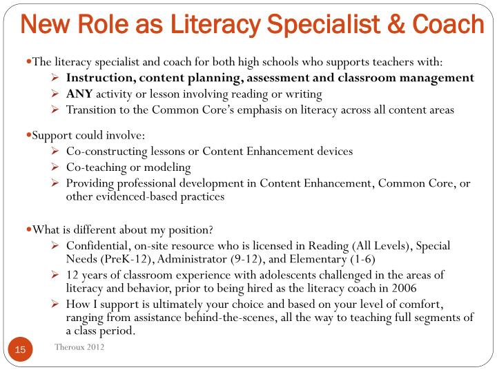 New Role as Literacy Specialist & Coach