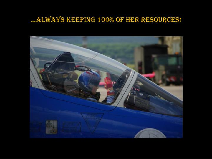 …always keeping 100% of her resources!