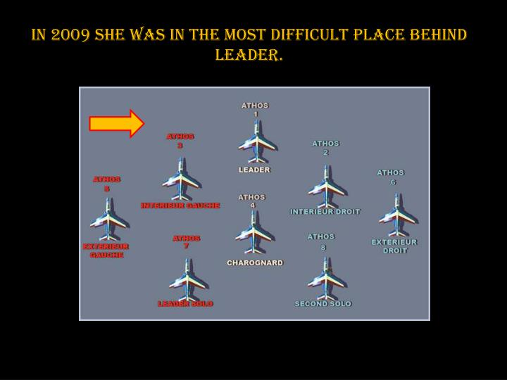 In 2009 she was in the most difficult place behind leader.