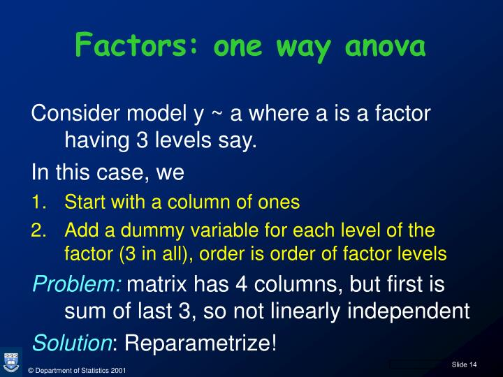 Factors: one way anova