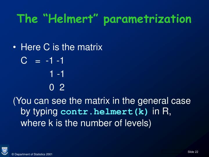 "The ""Helmert"" parametrization"