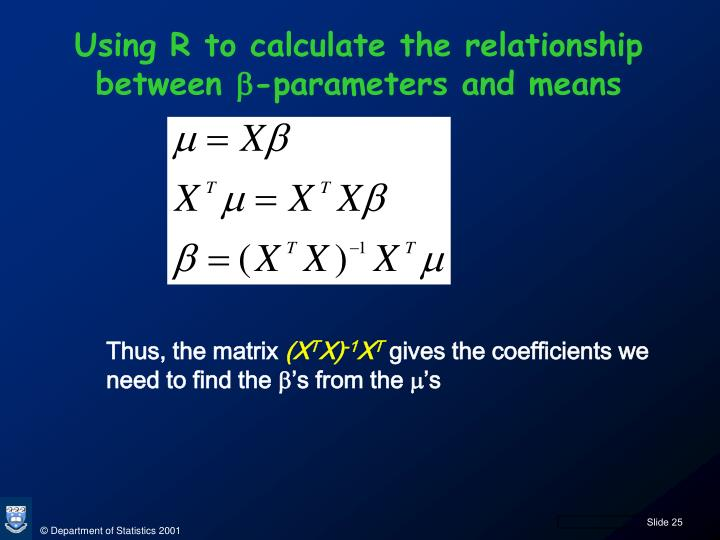 Using R to calculate the relationship between