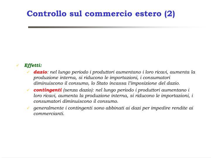 Controllo sul commercio estero (2)