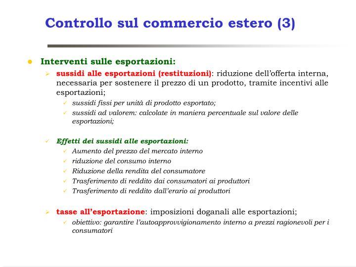 Controllo sul commercio estero (3)