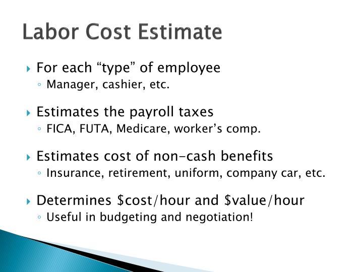 Labor Cost Estimate