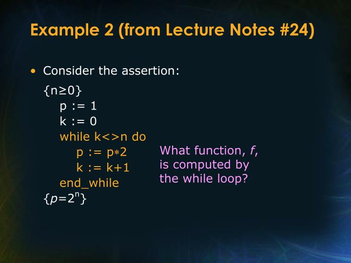 Example 2 (from Lecture Notes #24)