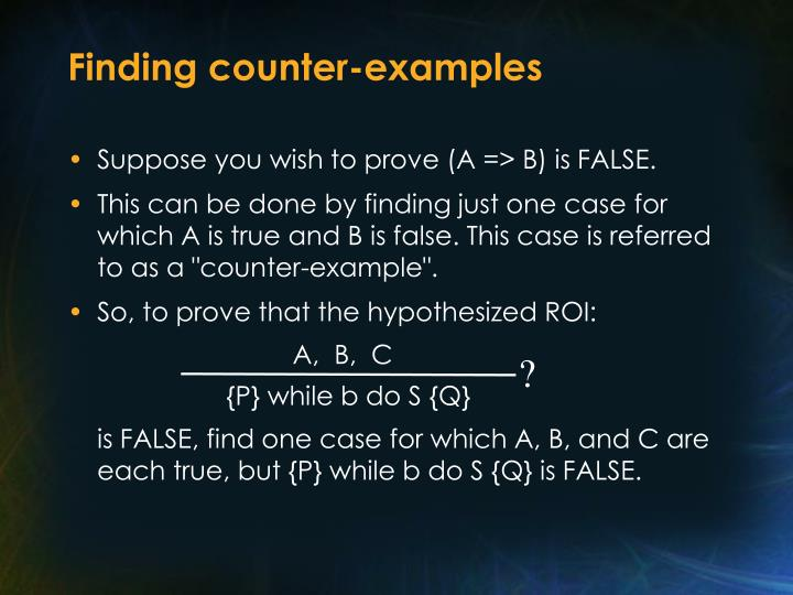 Finding counter-examples
