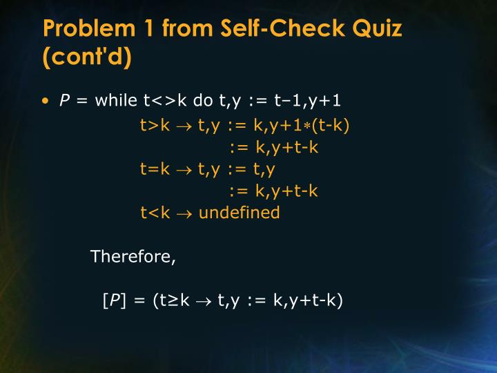 Problem 1 from Self-Check Quiz (cont'd)