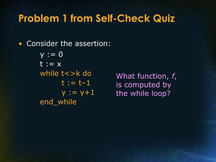 Problem 1 from Self-Check Quiz