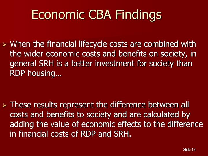 Economic CBA Findings