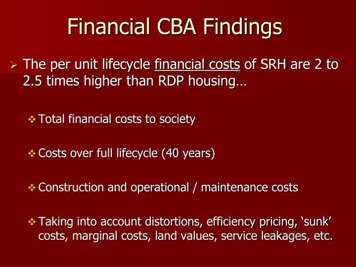 Financial CBA Findings