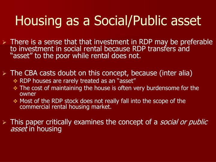 Housing as a Social/Public asset