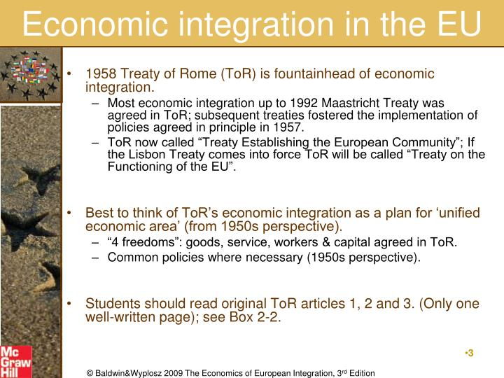 Economic integration in the eu