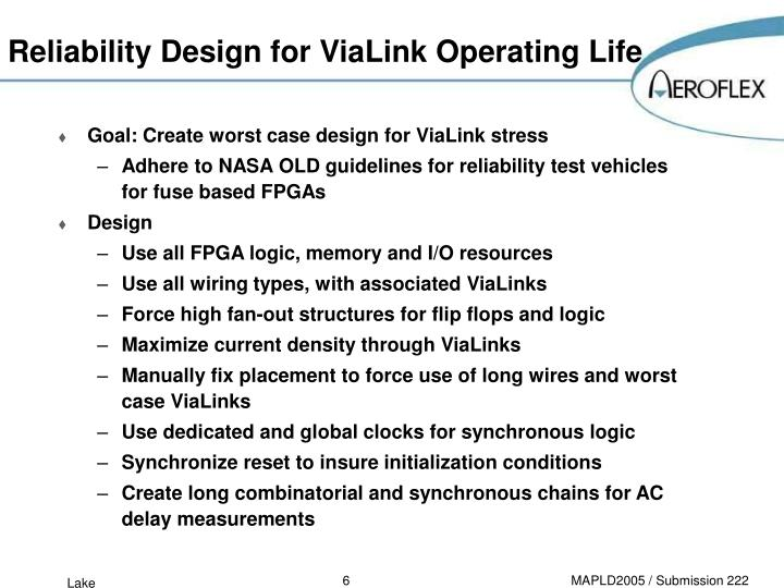 Reliability Design for ViaLink Operating Life
